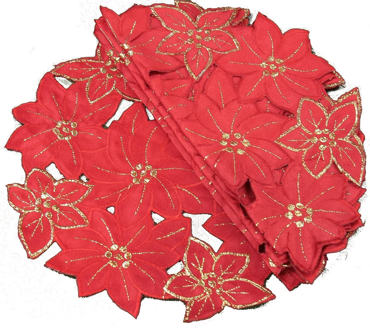Xia Home Fashions 4-Pack Festive Poinsettia Embroidered Cutwork Round Holiday Doily, 8-Inch