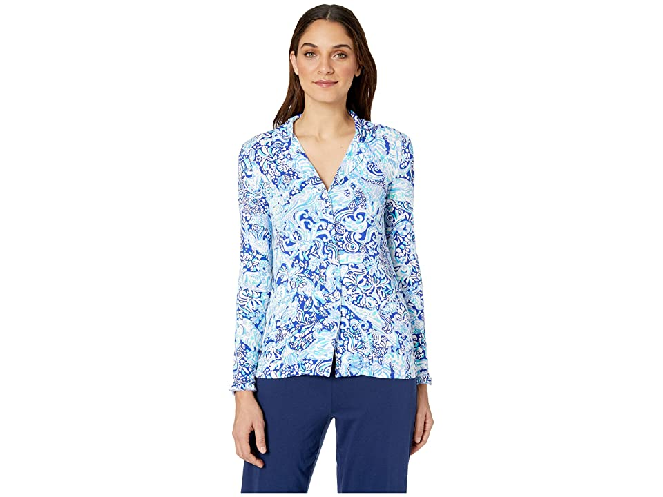 Lilly Pulitzer Ruffle PJ Button-Up Top (Royal Purple 60 Animals) Women