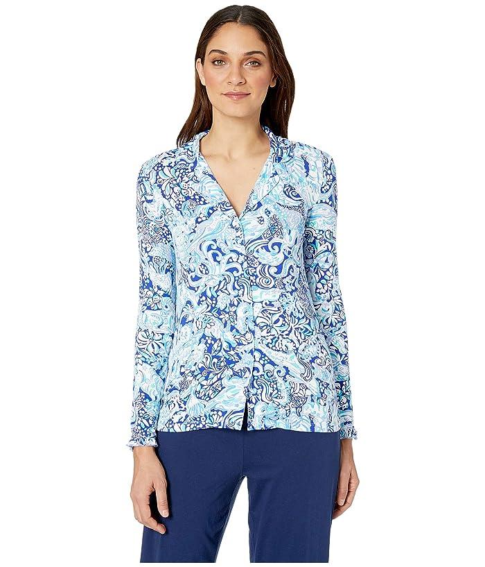 Lilly Pulitzer Ruffle PJ Button-Up Top (Royal Purple 60 Animals) Women