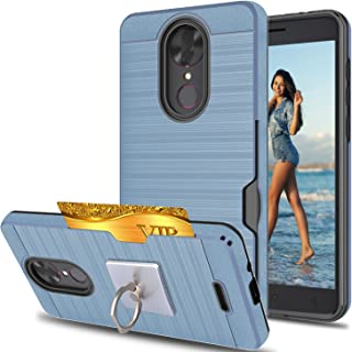 T-Mobile Revvl Plus case, Coolpad Revvl Plus Case With Phone Stand,Ymhxcy [Credit Card Slots Holder][Brushed Texture] Dual Layer Shockproof Protective Cover For Coolpad Revvl Plus -LCK Metal Slate