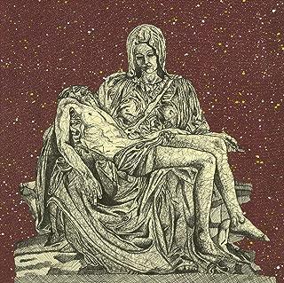 Feeling at home ROLLED-CANVAS-fine-art-print-Pop-Michelangelos-Pieta-on-red-background-Figurative-31x31_in-Michelangelo-Renaissance-Rome-Pieta-Sculpture-Crhist-Virgin-Mary-fine-Art-Rolled-Canvas-