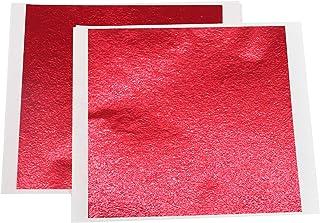 Imitation Gold Foil Leaf Sheets - VGSEBA 100 Pieces Red Metal Leaf Papers Perfect Choice for Gilding Crafts, Furniture Dec...