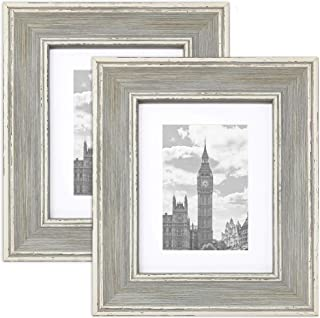 PF+A 6x8 Picture Frame with Mat for 4x6 - Madison Blue Distressed, Pack of 2