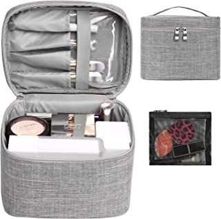 Makeup Bag Travel Large Cosmetic Bag Make Up Case Organizer Pouch with Mesh Bag Brush Holder Toiletry Bags for Women