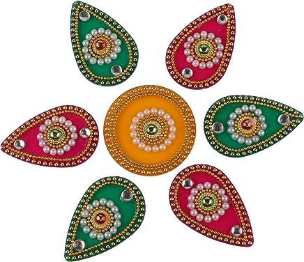 250aa0129b02 Kamla Sellers Diwali Rangoli Floor Decorations Acrylic Shape with Studded  Stones and Sequins