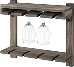 MyGift Wall-Mounted Gray Wood 2-Tier Wine Glass Storage Rack