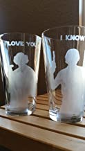 Star Wars Han & Leia I Love You I Know Pint Glass Set Beer Cups