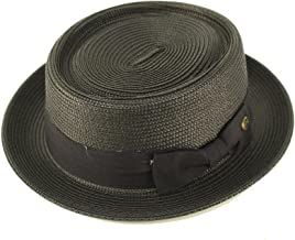 Epoch Men's Everyday Light Summer Ribbon Porkpie Boater Derby Fedora Sun Hat
