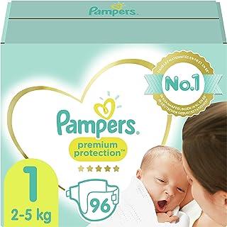 Pampers Maat 1 Luiers (2-5 kg), Premium Protection, 96 Stuks, Onze Nummer 1 Luier voor Zachtheid en Bescherming van de Gev...