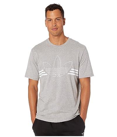 adidas Originals Outline Trefoil Tee (Medium Grey Heather) Men
