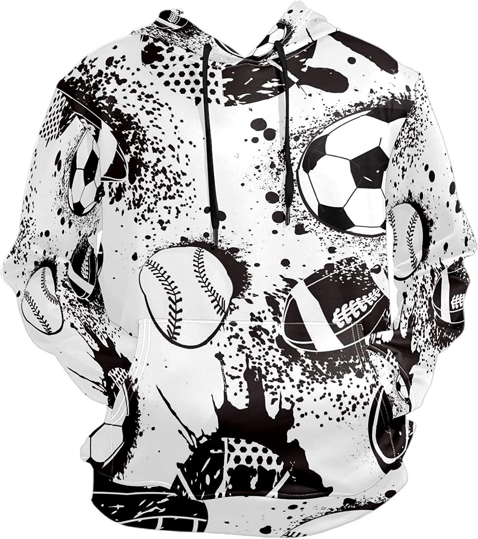 Men's Sport Hoodie Football Soccer Basketball Baseball Black White Style Big and Tall Hoodies for Men Women Oversized Hooded Sweatshirt Hip Hop Pullover Hoodie Midweight Hood for Boys Girls