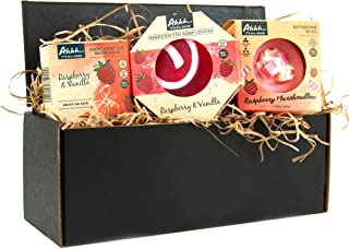 Ahhh Raspberry Gift Pack - Raspberry Marshmallow Bath Bomb 180g, Raspberry Lollipop Wash Bar 120g, Raspberr...