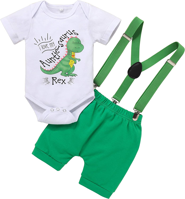 Baby Boy Summer Outfits Toddler Boy Gentleman Dinosaur Romper Suspender Shorts 2Pcs Clothes Set