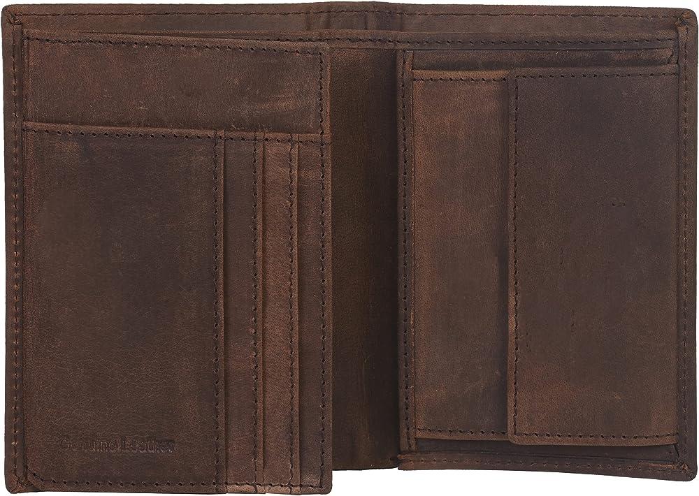 Eono amazon brand, portafoglio in pelle unisex, protezione lettura rfid, porta carte di credito, Marrone Effetto Vintage