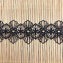 """Bows Ruban et dentelle ~ 100mm//4/"""" coton noir broderie anglaise froncée dentelle"""