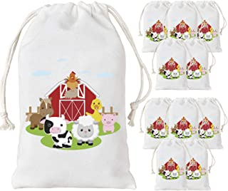 KREATWOW Farm Animal Party Favor Bags Barnyard Party Treat Goody Candy Bags for Birthday Party Baby Shower Supplies 5 x 8 inches 12 Pack