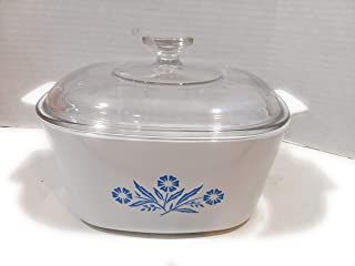 Vintage Corning Ware 3 Quart / Liter Casserole Dish with Lid Cornflower Blue Design A-3-B