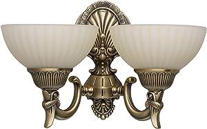 Antigua compacto–Lámpara de pared (2focos messingfarbiges metal vanillafarbiges Cristal grelles Luz indirecta para Vestíbulo Sala Cocina Comedor Salón Dormitorio No Incluidas.2* 60W E27