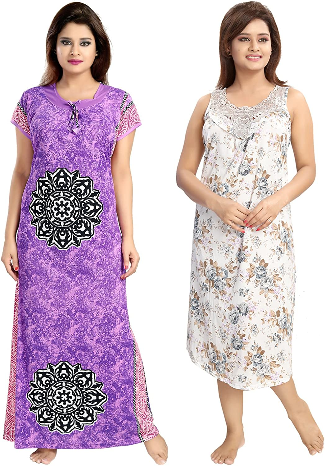 Be You Serena Satin PurpleGrey Women Floral Printed Nightgowns Combo pack of 2