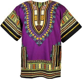 Camisa unisex de manga corta con estampado africano Dashiki, color morado, tallas pequeñas a 3XL