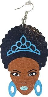 Afro Princess Earrings/Natural Hair/African American Woman Earring/Wood Jewelry