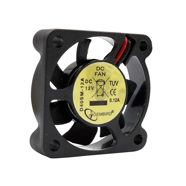 Gembird Ventilador 40 mm 40 x 40 x 10 D40SM-12 A 12 V DC 0,12 A 1,44 W Air Fan 4 cm 2 hilos (+/-) refrigeración