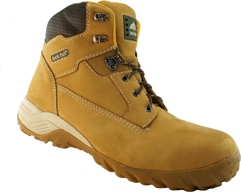 Rockfall Men's Flint Honey Nubuck Composite Toe Safety Work Boots