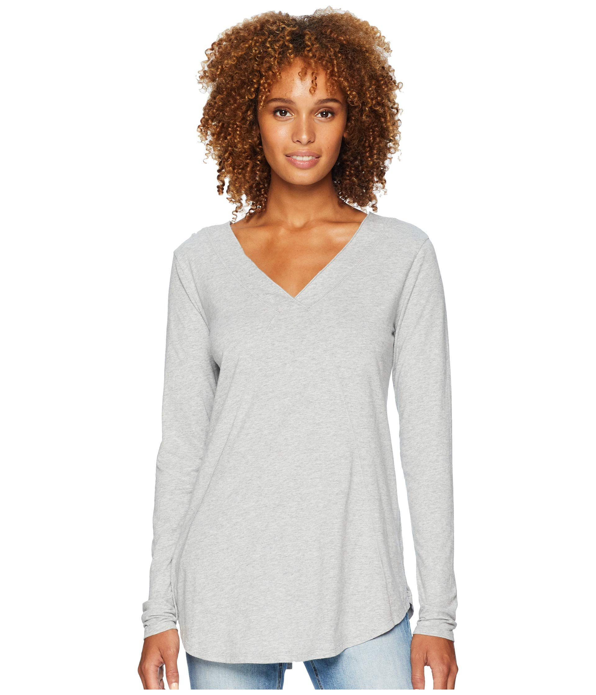 neck Classic Grey Sleeve Tee Heather o Seamed Long V Mod Jersey doc qwZx8EOfn