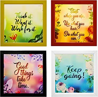 Indianara 4 Piece Set of Framed Wall Hanging Motivational Quotes Art Prints (2053) 9.5 inch X 9.5 inch Without Glass