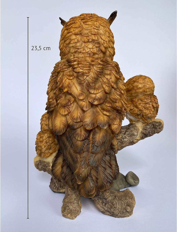 Decoraci/ón de jard/ín Objectz B/úho Figura de b/úho sobre tronco con dos b/úhos de beb/é Familia de b/úhos blanco B/úho