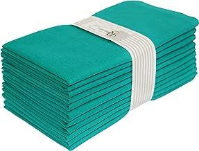Wedding Napkins-Flax Cotton Fabric-Teal color,Measuring 19x19,Cloth Dinner Napkins,Cocktails Napkins,Dinner Napkins,Decorative Napkins,Mitered Corners,Machine Washable Dinner Napkins Set of12