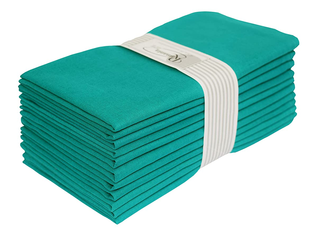Wedding Napkins-Flax Cotton Fabric-Teal color,Measuring 19x19,Cloth Dinner Napkins,Cocktails Napkins,Dinner Napkins,Decorative Napkins,Mitered Corners,Machine Washable Dinner Napkins Set of12