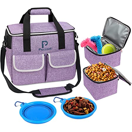 Dog Travel Bag,Multi-Function Pocket, Food Container Bag,Large Storage Capacity for Supplies and Accessories,Weekend Pet Travel Set for Hiking Overnight Camping Road Trip