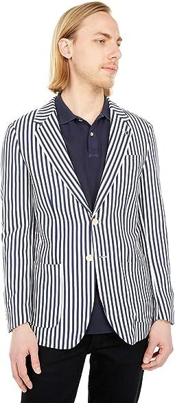 Striped Single Breasted Organic Cotton Pique Blazer