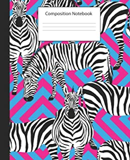 Composition Notebook: Pink and Black Animal Print  Wide Ruled School Notebook  Exotic Zebra Cover 150 pages