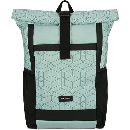 LARK STREET Rucksack Damen & Herren Mint No 2 Rolltop Backpack für den Alltag Uni Job Schule Fahrrad Freizeit – Recycelt & Wasserabweisend mit Laptopfach