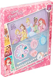 Markwins Disney Princess Gift Set in Metal Tin with Princess Print Pack of Bead Bracelet & Diamante Eye Shadow Lip Gloss A...