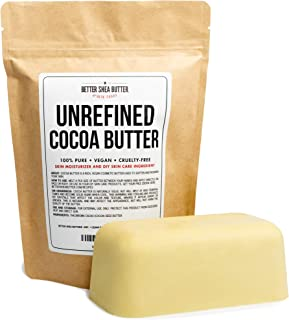 Unrefined Cocoa Butter - Use on Pregnancy Stretch Marks, Make Moisturizing Lotion, Chap Stick, Lip Balm and Body Butter - 100% Pure, Food Grade, Smells Like Chocolate - 16 oz by Better Shea Butter