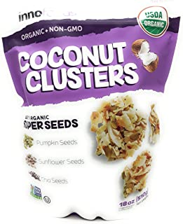 InnoFoods Coconut Clusters with Organic Super Seeds Pumpkin; Sunflower & Chia Seeds 18 oz (Coconut, 18 ounce (2 Pack))