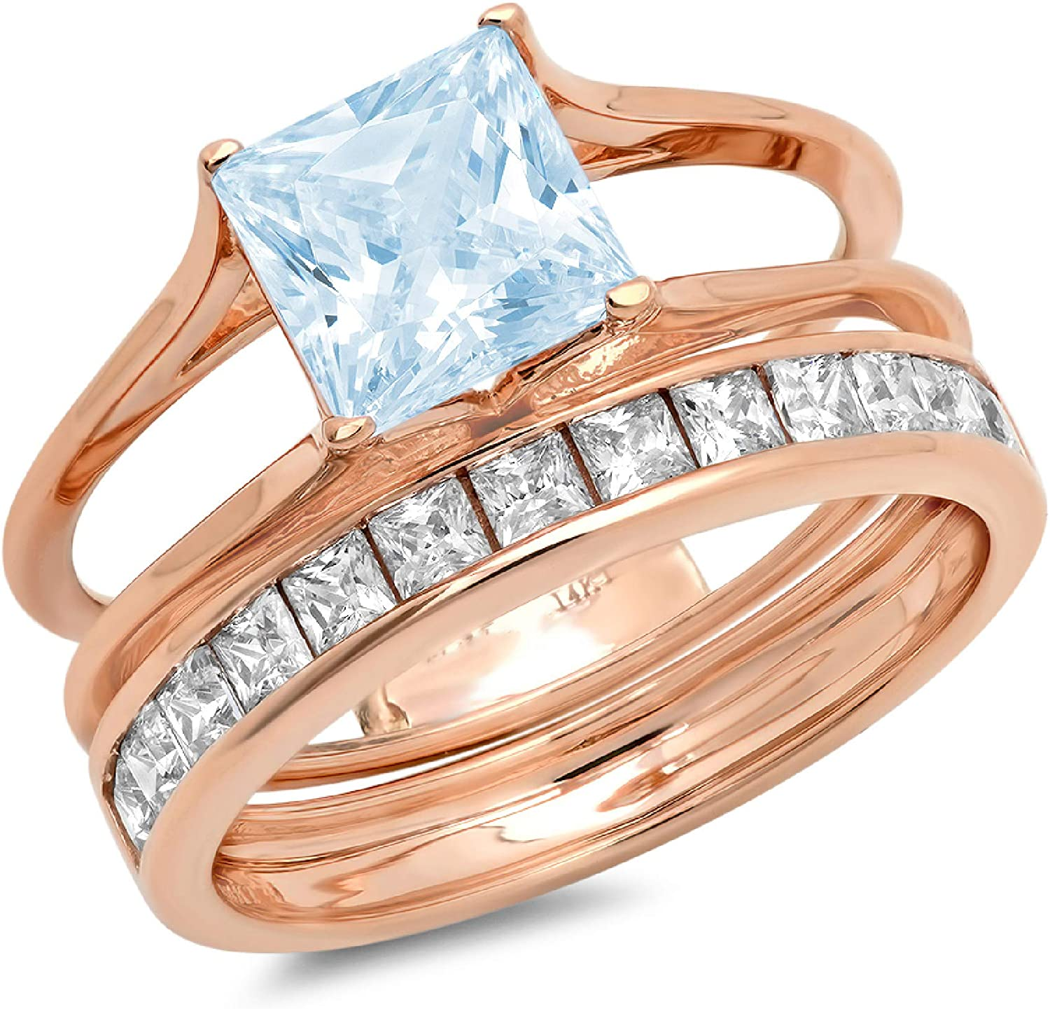3.37ct Princess Cut Pave Solitaire with Accent Natural Sky Blue Topaz Designer Statement Classic Sliding Ring Band Set Real Solid 14k Rose Gold