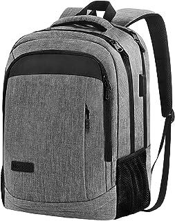 کوله پشتی لپ تاپ Monsdle Travel Laptop Backpack مقاوم در برابر آب کیف مدرسه رایانه ای با درگاه شارژ USB برای دانشجویان کالج مردانه بانوان مناسب لپ تاپ 15.6 اینچی (خاکستری)