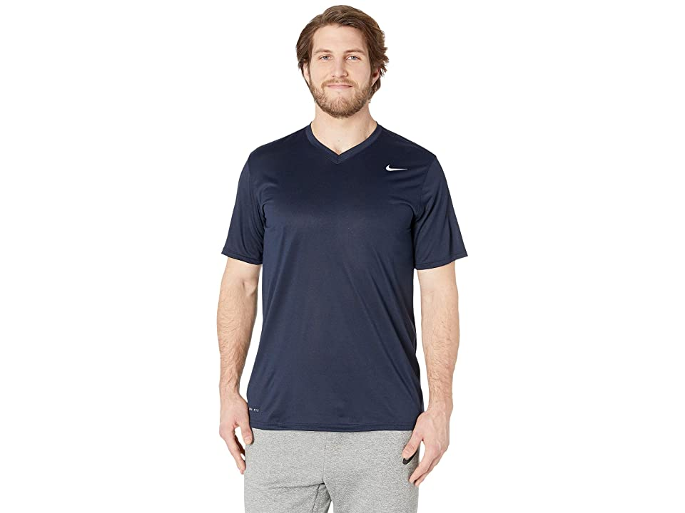 Nike Big Tall Dry Tee Legend V-Neck 2.0 (Obsidian/Black/Matte Silver) Men