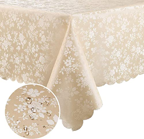 smiry Waterproof Vinyl Tablecloth, Square Heavy Duty Table Cloth, Wipeable Table Cover for Kitchen and Dining Room (B...