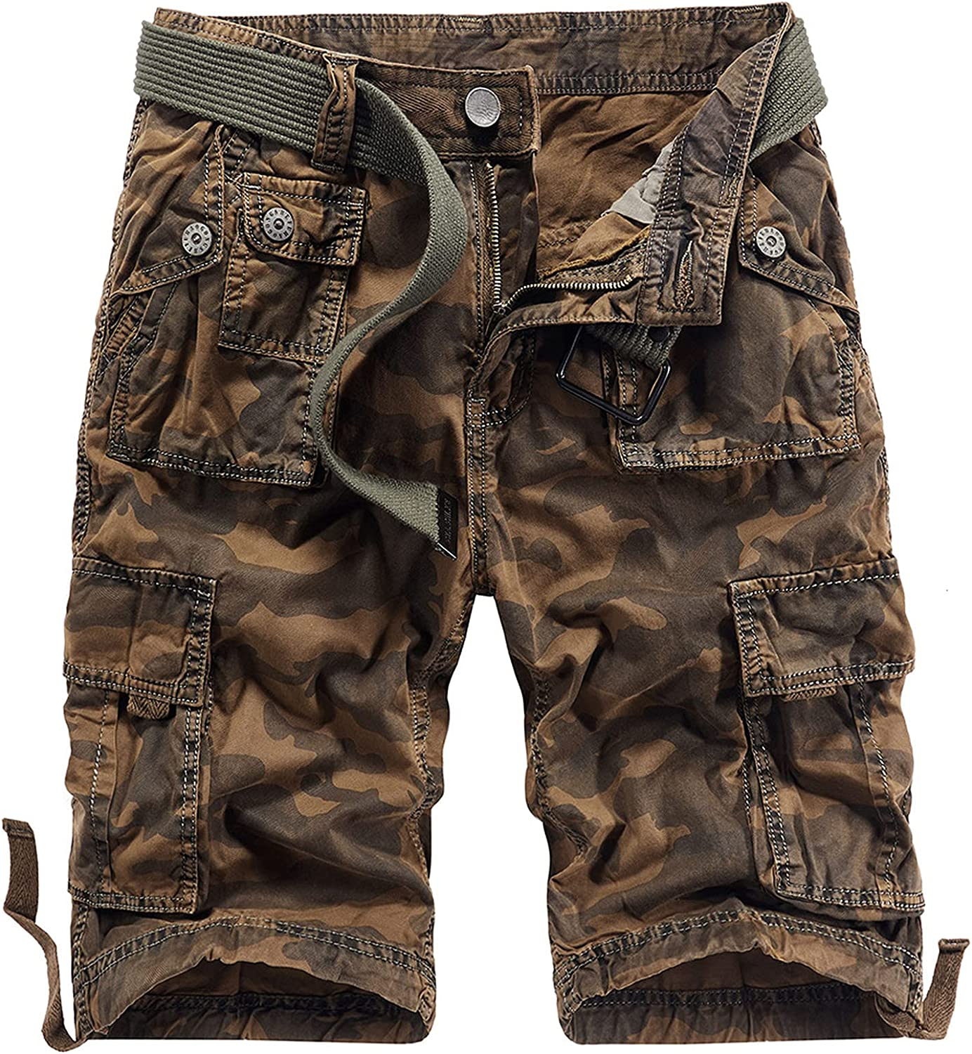 B dressy Men Summer Casual Loose Camouflage Cargo Shorts Multi-Pocket 100% Cotton Street Military Knee-Length Beach-Brown Camouflage-30
