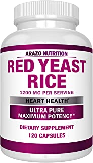 Red Yeast Rice Extract 1200mg – Citrinin Free Supplement – Vegetarian 120 Capsules - Arazo Nutrition