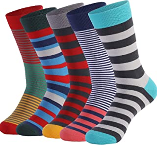 DRASEX Mens Dress Socks 5-Pack Combed Cotton Fun Colorfull Patterned Crew Sock for Men Women Assorted Colors Funky Socks