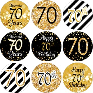 DISTINCTIVS Black and Gold 70th Birthday Party Favor Labels - 180 Stickers