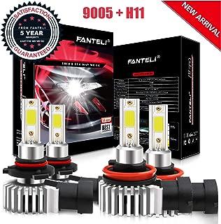 FANTELI Ultra Mini 9005 High beam H11 Low Beam Combo LED Headlight Bulbs Kit - 9600LM 6000K Cool White 2019 New Gen (4 Pack, 2 Sets)