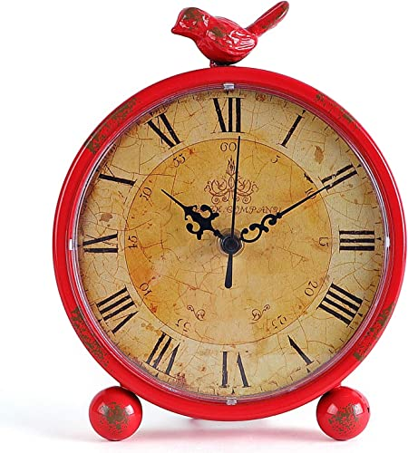 2021 Konigswerk Table Desk Clocks, Retro Tabletop 8 Inches Metal Vintage Clock high quality Battery Operated with Bird ( online Red) sale
