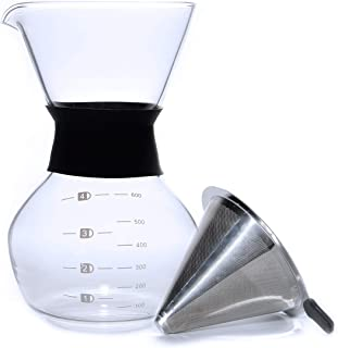 Pour Over Coffee Maker 20oz 600ml Borosilicate Glass Carafe, With Reusable Stainless Steel Filter/Dripper, Hand-Drip Coffee Maker, Easy to clean